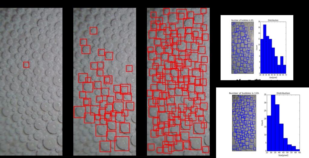 機械学習による液体の泡の計測の画像とアプリ画面